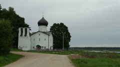 Panorama from the river to the old Orthodox Church, Full HD shot Stock Footage