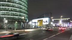 City traffic at night  - Potsdamer Platz, Berlin Stock Footage