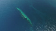 Aerial view of underwater shipwreck - Umbria, Red Sea, Sudan Stock Footage