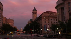 US Capitol Penn Ave ws sunset Stock Footage