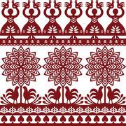 Seamless Polish folk art pattern Wycinanki Kurpiowskie - Kurpie Papercuts Stock Illustration