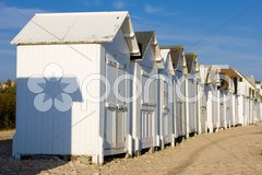 Huts on the beach, Bernieres-s-Mer, Normandy, France Stock Photos