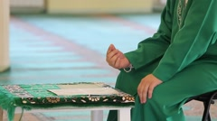 Close-Up Of Male Hands Praying In Mosque Stock Footage