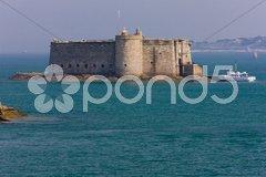 Chateau du Taureau, Pointe de Pen al Lann, Brittany, France Stock Photos