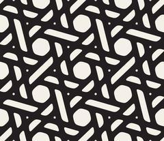 Vector Seamless Black and White Geometric Pattern Stock Illustration