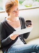 Woman on a Tea Break at Home Stock Photos