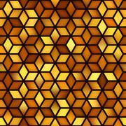 Vector Seamless Golden Shades Gradient Cube Shape Rhombus Grid Pattern. Abstr Stock Illustration
