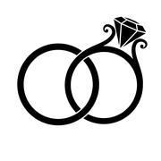 Wedding Rings Silhouette Stock Illustration