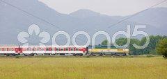 Passenger train, Strazovske Vrchy, Slovakia Stock Photos