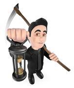3D Funny monster. The Grim Reaper. Halloween Stock Illustration