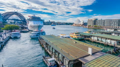 Hyperlapse video of ferries and people visiting Circular Quay in Sydney Stock Footage