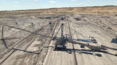 Aerial view of an open mine - bucket wheel excavator Stock Footage