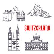 Historic buildings and sightseeings of Switzerland Stock Illustration