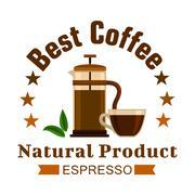 Cafe emblem. Coffee Espresso label Stock Illustration