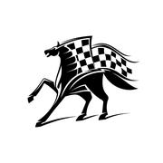 Horse racing emblem with checkered flag Stock Illustration