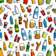 Drinks and bottles seamless background Stock Illustration