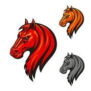 Horse head emblem with fierce black eyes Stock Illustration