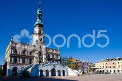 Town Hall, Main Square (Rynek Wielki), Zamosc, Poland Stock Photos