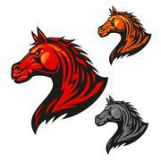 Furious horse icons. Stylized stallion emblems Stock Illustration