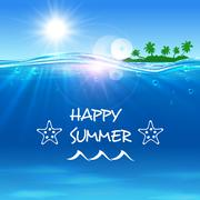 Happy Summer poster. Ocean waves with island Stock Illustration