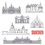 Historic buildings and sightseeings of Sweden Stock Illustration
