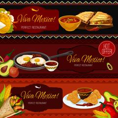 Mexican cuisine restaurant banners with spicy food Stock Illustration