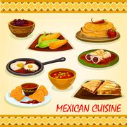 Mexican cuisine spicy dishes icon Stock Illustration