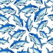 Flock of atlantic tuna fishes seamless pattern Stock Illustration
