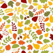 Autumn background with leaves seamless pattern Stock Illustration