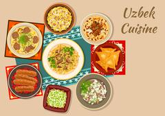 Uzbek cuisine dinner with asian dishes icon Stock Illustration