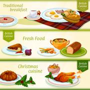 British cuisine breakfast, Christmas dinner banner Stock Illustration