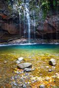 Waterfall Levada das 25 fontes, Madeira Island, Portugal Stock Photos