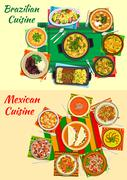 Mexican and brazilian cuisine dinners icon Stock Illustration