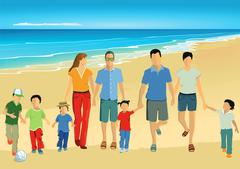 Parents with children on the beach Stock Illustration