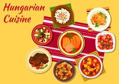 Hungarian cuisine signature dishes icon Stock Illustration