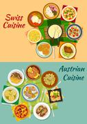 Swiss and austrian cuisine popular dishes icon Stock Illustration