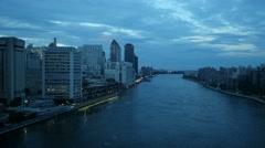 Blue dusk sky over city. new york city scenery Stock Footage