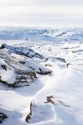 Snow covered tor landscape in winter, Kinder Scout, Derbyshire, England, UK Stock Photos