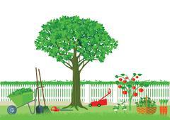 Gardening and harvesting Stock Illustration