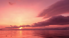 Sunset in the icy Lake Baikal in the red colors, Irkutsk region, Russia. Full HD Stock Footage