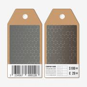 Tags design on both sides, cardboard sale labels with barcode. Chemistry pattern Stock Illustration