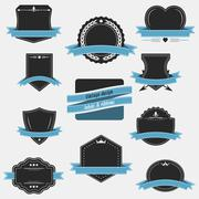 Vintage labels and ribbons. Retro style vector set design. Stock Illustration