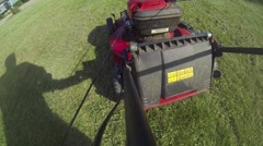 Push Mower - Mowing the Lawn Stock Footage