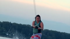 Woman on wakeboard, closeup shot Stock Footage