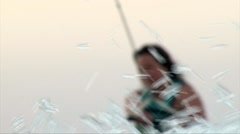 Soft focus close up shot: wakeboarder girl face Stock Footage