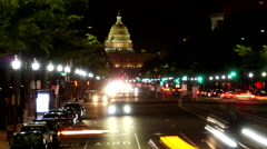 US Capitol Pennsylvania Ave traffic timelapse night Stock Footage