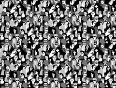 Big crowd happy people black and white seamless pattern Stock Illustration