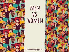 Men vs women crowd people color seamless patterns Piirros