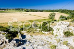 Field at Roman aqueduct near Meunerie, Provence, France Stock Photos