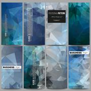 Set of flyers. Abstract blue polygonal background, colorful backdrop, modern Stock Illustration